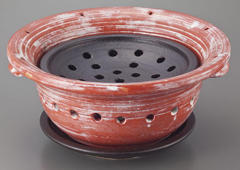 土鍋 料亭炉端コンロセット(串付き) 赤楽 [34 x 18cm] 日本製 素材:陶器 【料亭 旅館 和食器 飲食店 業務用】