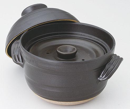 土鍋(萬古焼) 新大黒炊飯鍋(4合炊) [D22.5 x 27.5 x 21cm] 直火OK。 【料亭 旅館 和食器 飲食店 業務用】