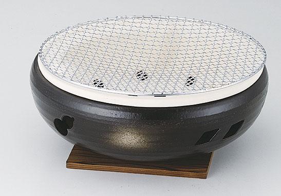 土鍋(萬古焼) 黒10号伊勢コンロ(金網cm・板付) [D30 x 12cm] 直火OK。 【料亭 旅館 和食器 飲食店 業務用】