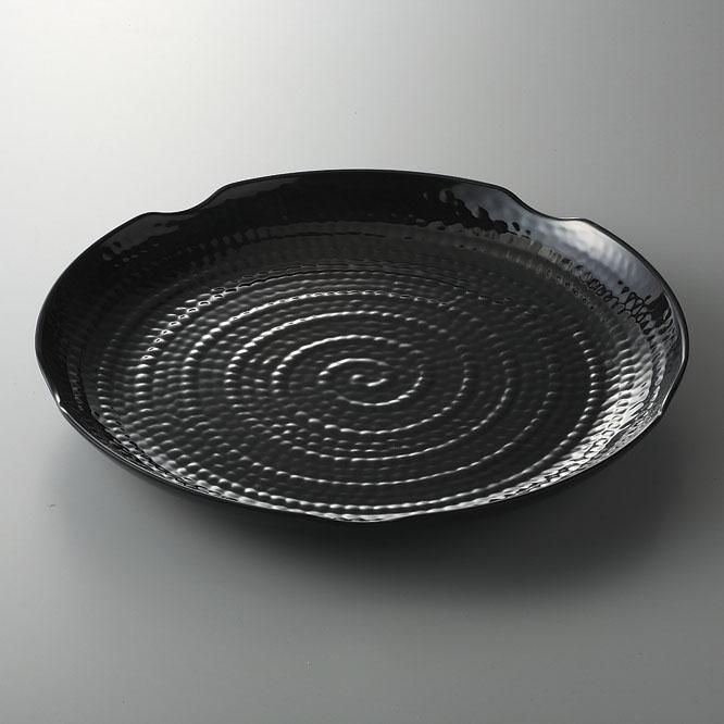 メラミン樹脂 テラテクスチャードラウンドプラター 45.5cm(ブラック) [D45.7 x 4.8cm] (12) 中国/食洗機OK 【料亭 旅館 和食器 飲食店 業務用】