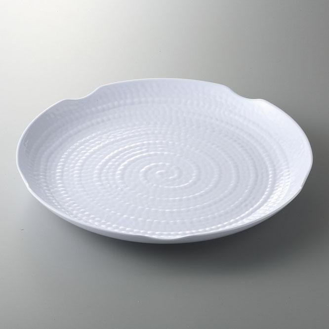 メラミン樹脂 テラテクスチャードラウンドプラター 45.5cm(ホワイト) [D45.7 x 4.8cm] (12) 中国/食洗機OK 【料亭 旅館 和食器 飲食店 業務用】