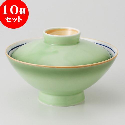 10個セット ☆ 茶碗 ☆ 緑彩 のり茶 [ 14.6 x 9.4cm 520g ] 【 料亭 旅館 和食器 飲食店 業務用 】