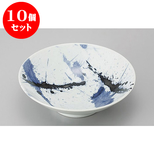 10個セット めん皿・めん鉢 筆ちらし8.0麺鉢 [24.5 x 7.4cm] 料亭 旅館 和食器 飲食店 業務用