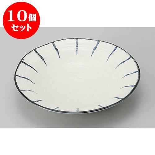 10個セット めん皿・めん鉢 藍十草8.0麺皿 [24.5 x 4.7cm] 料亭 旅館 和食器 飲食店 業務用