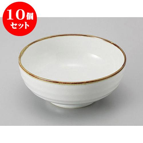 10個セット めん皿・めん鉢 白うのふ6.5高台鉢 [19.5 x 8.5cm] 料亭 旅館 和食器 飲食店 業務用