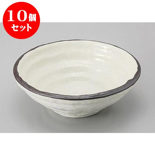 10個セット めん皿・めん鉢 粉引白刷毛輪づみ6.5寸鉢 [20 x 7cm] 料亭 旅館 和食器 飲食店 業務用