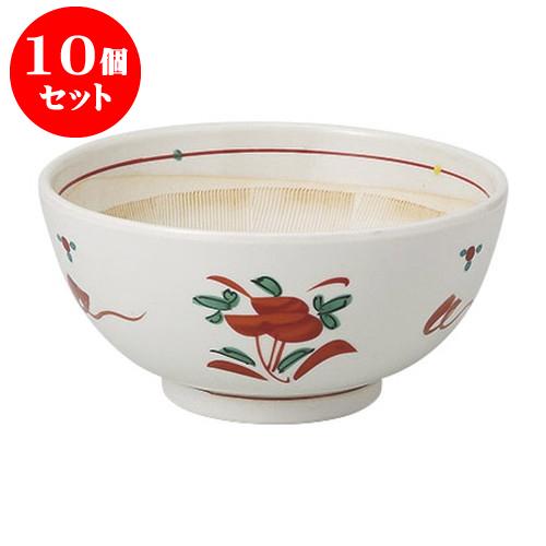 10個セット すり鉢 赤絵立花六寸すり鉢 [18.3 x 8.9cm] 料亭 旅館 和食器 飲食店 業務用