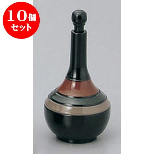 10個セット 卓上小物 黒歌舞伎つる首型七味入 [5.3 x 11.3cm] 塗 料亭 旅館 和食器 飲食店 業務用