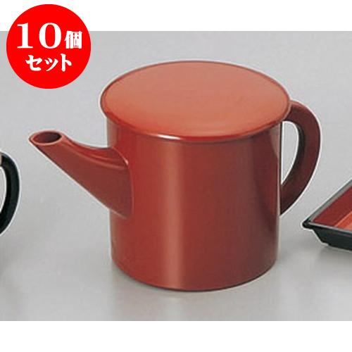 10個セット そば用品 朱丸湯筒(大) [18 x 10.6 x 10cm 500cc] 塗 料亭 旅館 和食器 飲食店 業務用