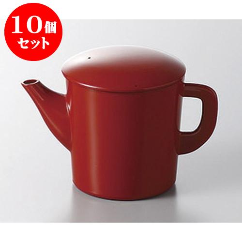 10個セット そば用品 丸ゆとう小 赤 [9 x 9.5cm] 料亭 旅館 和食器 飲食店 業務用