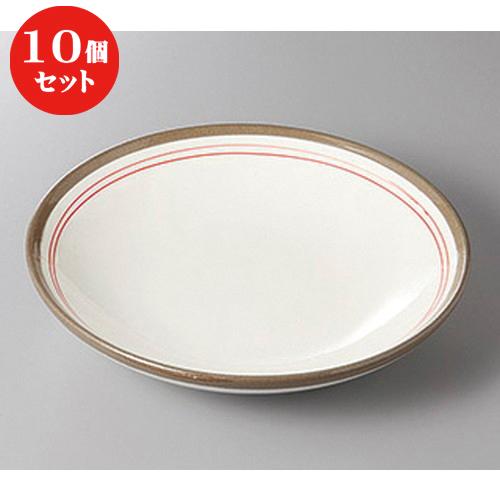 10個セット ☆ めん皿 ☆赤ライン7.5メン皿 [ 23 x 5cm ] 【 蕎麦屋 定食屋 和食器 飲食店 業務用 】