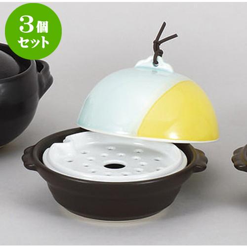 3個セット 蒸し鍋 山海ドーム型鍋・蒸し器(目皿付) [18 x 16 x 13cm] 【直火 料亭 旅館 和食器 飲食店 業務用】
