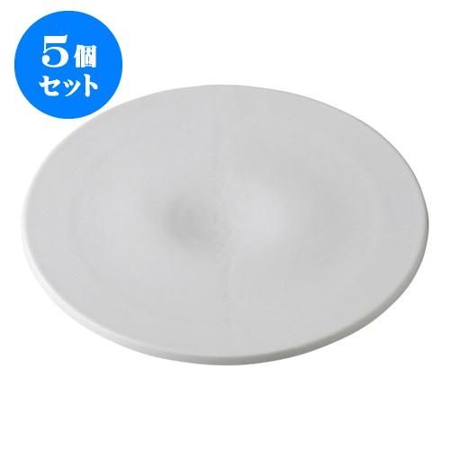 5個セット デリカウェア 雪月花 白磁 雪くぼみ盛皿 [30.3 x 2.2cm] 【 料亭 旅館 和食器 飲食店 業務用】