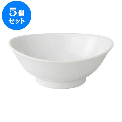5個セット デリカウェア 白磁7寸たわみ丼 [21.6 x 19.9 x 8.6cm] 【 料亭 旅館 和食器 飲食店 業務用】