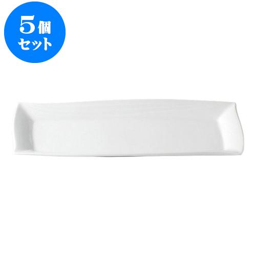 5個セット デリカウェア 白釉レガンス41.5cm長皿 [42 x 16.5 x 3.5cm] 【 料亭 旅館 和食器 飲食店 業務用】