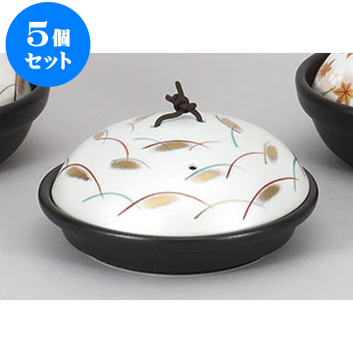 5個セット 陶板 黒釉花遊び陶板 [17 x 7cm] 【強化 直火 蓋強化 料亭 旅館 和食器 飲食店 業務用】