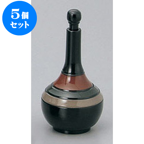 5個セット 卓上小物 黒歌舞伎つる首型七味入 [5.3 x 11.3cm] 【塗 料亭 旅館 和食器 飲食店 業務用】