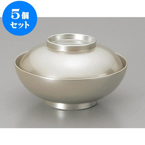 5個セット 煮物椀 総箔銀4.5寸平仙才煮物椀 [13.4 x 7.2cm] 【塗 料亭 旅館 和食器 飲食店 業務用】