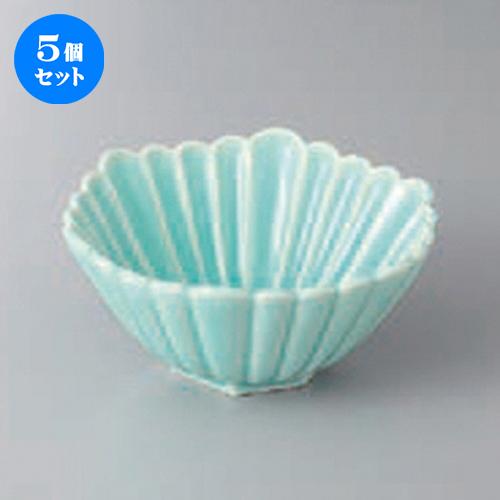 5個セット☆ 小鉢 ☆マリンブルー菊彫六角小鉢 [ 13.2 x 12.6 x 6cm ] 【 料亭 旅館 和食器 飲食店 業務用 】
