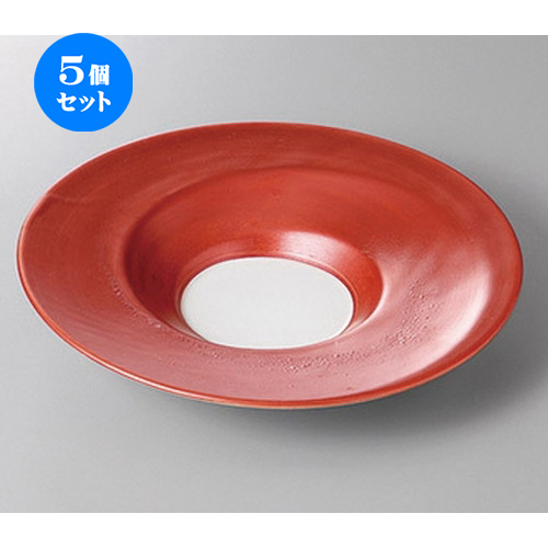 5個セット☆ 変形盛鉢 ☆パールレッド6.5皿 [ 23.5 x 4.3cm ] 【 料亭 旅館 和食器 飲食店 業務用 】