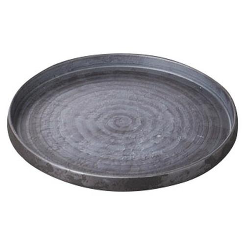 いぶし銀巻切立24cmプレート [ 24 x 2.1cm ] [ 丸盛皿 ] | 和食 飲食店 旅館 料亭 業務用