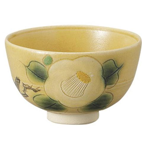 黄瀬戸椿紋茶碗(木箱入) [ 13 x 8cm ] [ 抹茶碗 ] | 茶道 野点 日本土産 贈り物