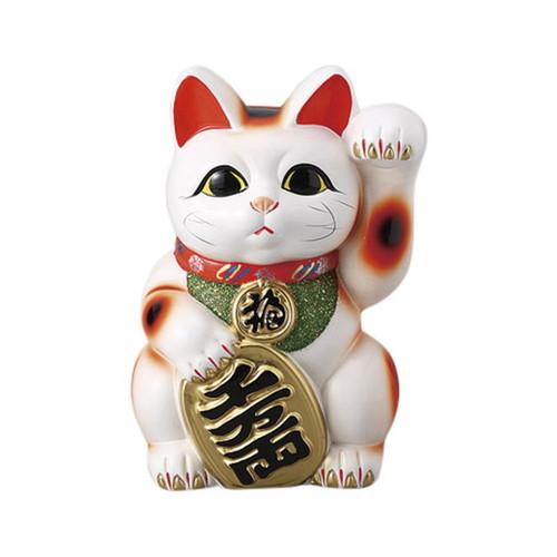 白小判猫 7号 左手 [ 16.5 x 14 x 23cm ] [ 招き猫 ] | 開店祝い 縁起物 日本土産 ネコ cat
