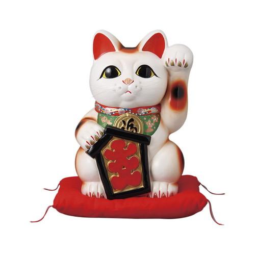 大入白猫 10号 左手 座ぶとん付 [ 23.5 x 22 x 33cm ] [ 招き猫 ]   開店祝い 縁起物 日本土産 ネコ cat