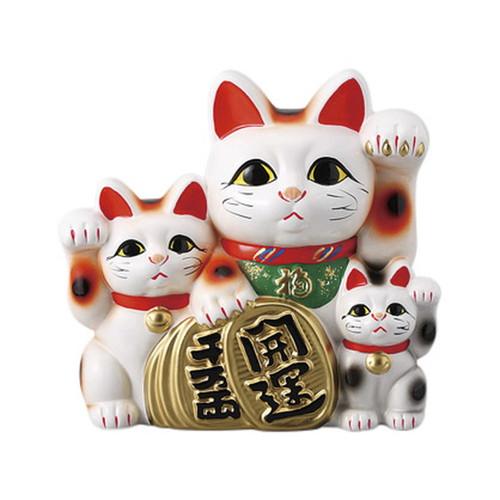 三匹猫 8号 [ 27 x 15 x 26cm ] [ 招き猫 ]   開店祝い 縁起物 日本土産 ネコ cat