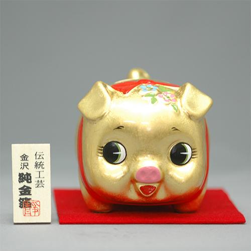 金箔 金豚ちゃん(大)貯金箱 [75 x 90 x 75mm ] 【縁起物 インテリア ギフト 置物】
