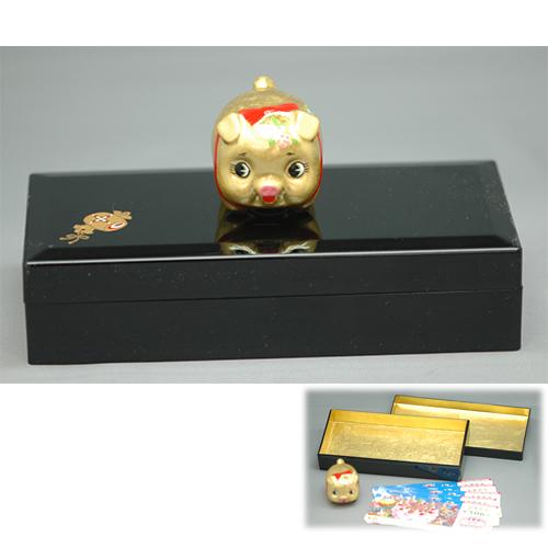 金箔 金豚ちゃん宝箱 [40 x 50 x 42mm 宝箱181×85×45mm] 【縁起物 インテリア ギフト 置物】