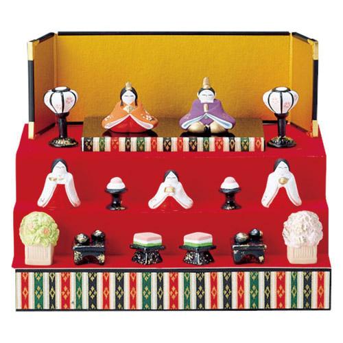 平安雛 三段飾り [台 横25x巾19x高さ10.5cm] 【雛祭り 桃の節句 かわいい】