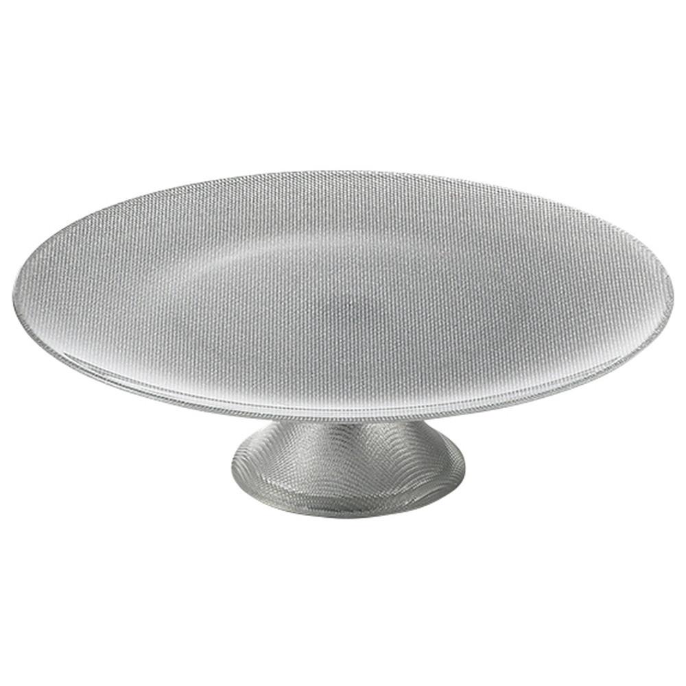 Bormioli Luigi(ボルミオリ ルイジ) グリッター フッテドケーキ シルバー [ Φ330 x H100mm ] 【 コンポート 】  ホテル レストラン 洋菓子 ケーキ ブッフェ 保存 業務用