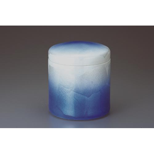 骨壷 九谷焼/銀彩ブルー 5寸 [5寸] 【供養 お盆 お彼岸 仏具】