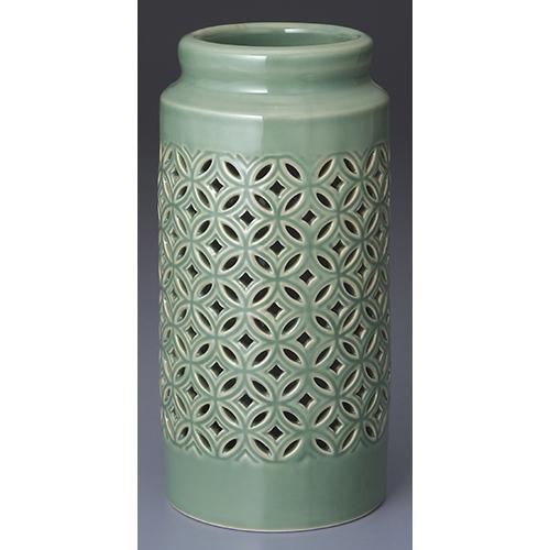 花瓶 緑青磁透かし七宝 8.5寸 [8.5寸] | 花瓶 花器 花立 インテリア かびん 仏具 仏花 投入 投げ入れ 業務用 飲食店 うつわ 器 おしゃれ かわいい ギフト プレゼント 引き出物 誕生日 贈り物 贈答品