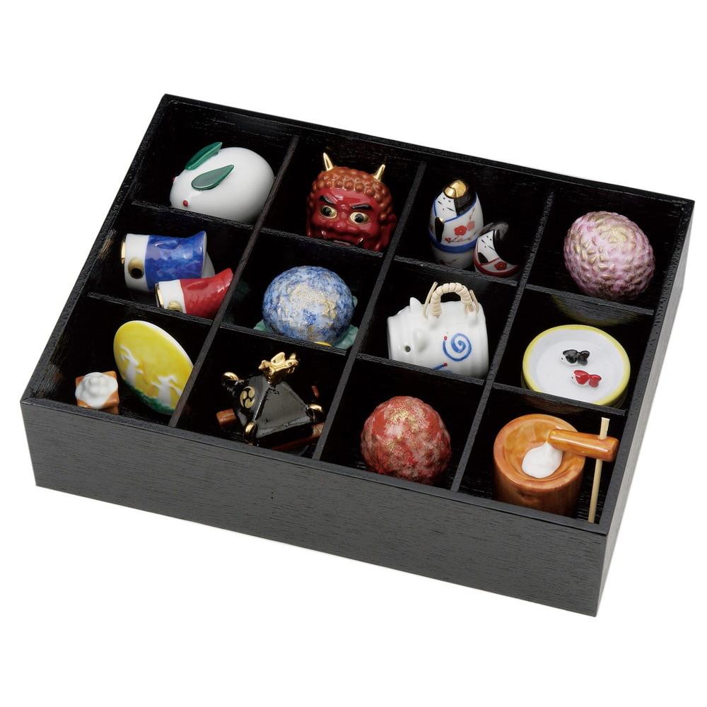 松花堂四季飾り(磁器)木箱 [ 箱 7.3 x 30.7 x 23.5cm ] 【 置物 】 | 置物 縁起物 お祝い 贈り物 日本土産