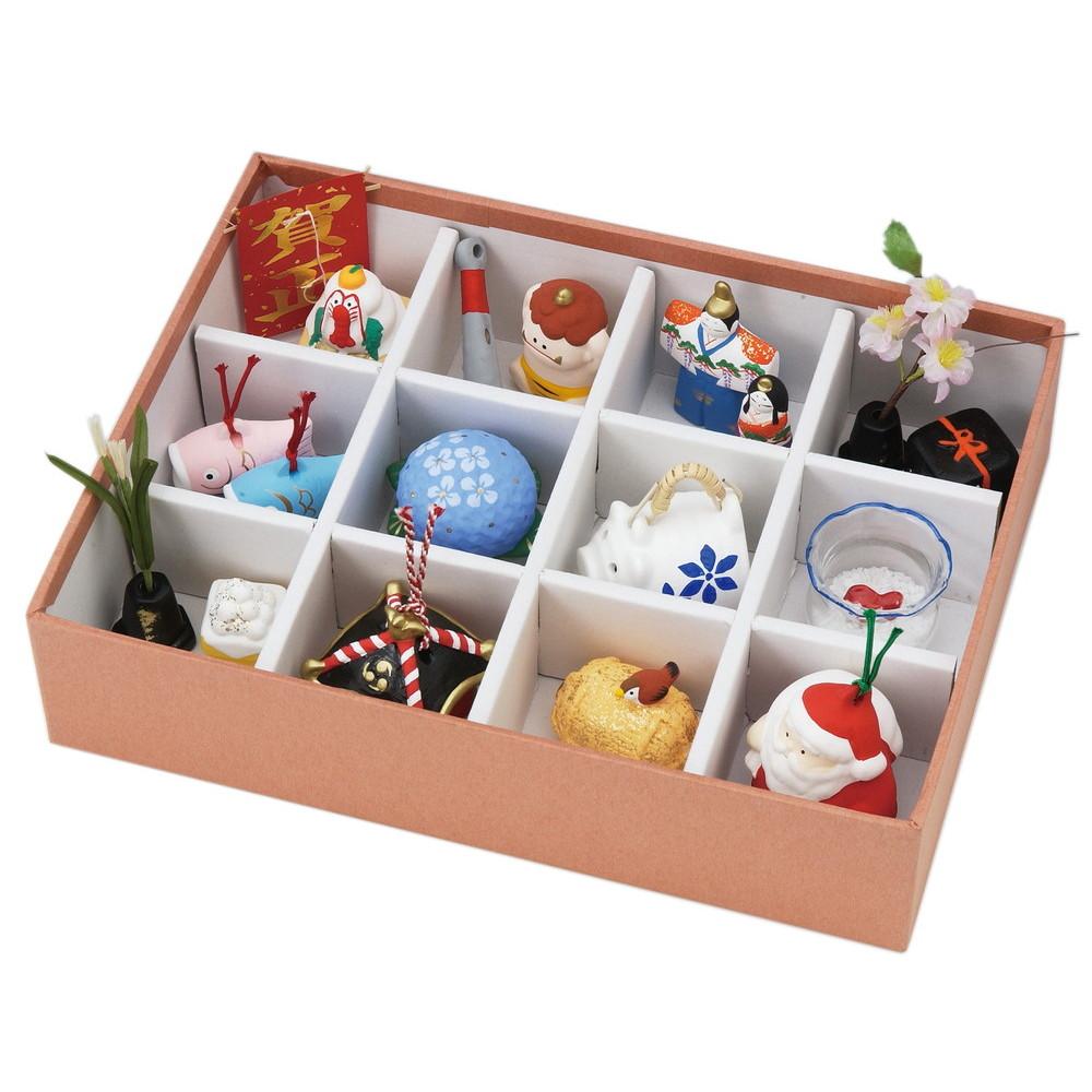 松花堂四季飾り(白雲)化粧箱 [ 箱 7.1 x 22.6 x 29.8cm ] 【 置物 】 | 置物 縁起物 お祝い 贈り物 日本土産