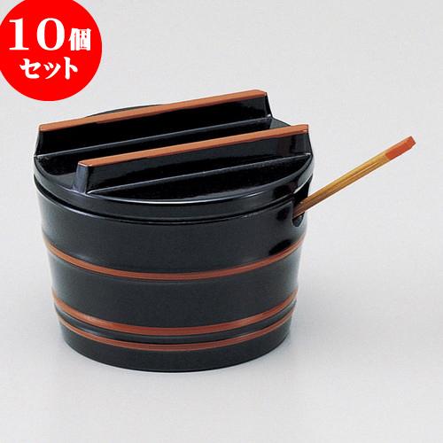 10個セット 越前漆器 [M](小)桶型ヤクミ入れ黒帯朱(小さじ付) [ 5.3 x 4.1cm ] 料亭 旅館 和食器 飲食店 業務用