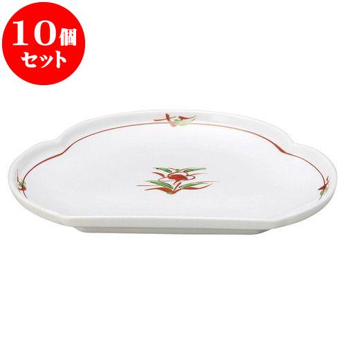 10個セット 和陶オープン 赤絵京風小花 松型天皿 [ 24.2 x 18.1 x 3.2cm ] 料亭 旅館 和食器 飲食店 業務用