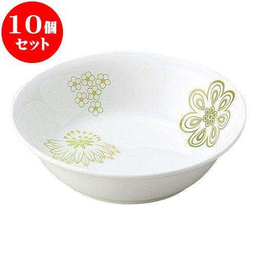 10個セット 和陶オープン 花紋 (緑)13cm丸深皿 [ 12.8 x 3.6cm ] 料亭 旅館 和食器 飲食店 業務用
