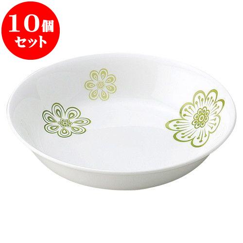 10個セット 和陶オープン 花紋 (緑)18cm丸深皿 [ 17.9 x 4cm ] 料亭 旅館 和食器 飲食店 業務用