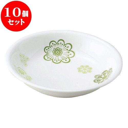 10個セット 和陶オープン 花紋 (緑)20cm丸深皿 [ 20.4 x 4.1cm ] 料亭 旅館 和食器 飲食店 業務用