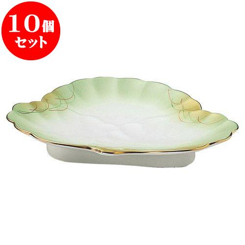 10個セット 和陶オープン 金吹きヒワ武蔵野 松型和皿 [ 18.5 x 15 x 3cm ] 料亭 旅館 和食器 飲食店 業務用