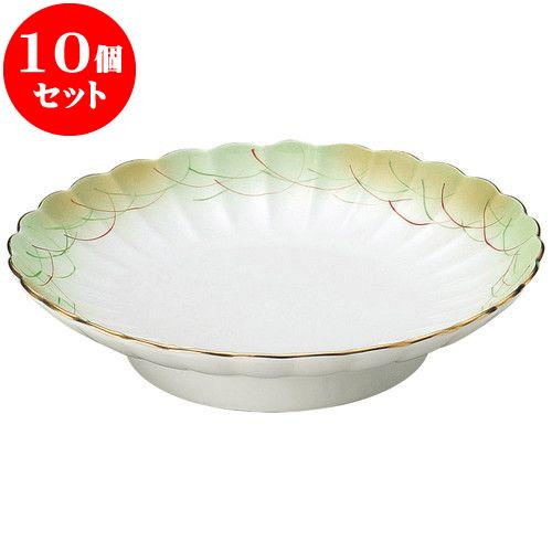 10個セット 和陶オープン 金吹きヒワ武蔵野 菊型天皿 [ 20.7 x 4.5cm ] 料亭 旅館 和食器 飲食店 業務用