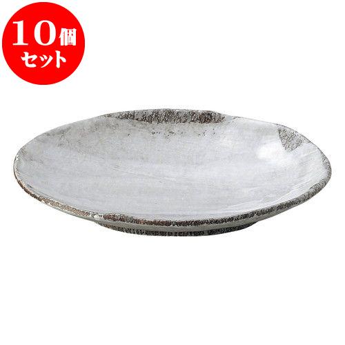 10個セット 和陶オープン 白刷毛目 8号小判皿 [ 24 x 17 x 4cm ] 料亭 旅館 和食器 飲食店 業務用