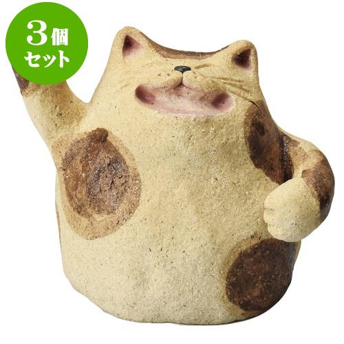 3個セット 縁起 大笑い金運ぶち猫 [ 6.5 x 6.5cm ] 料亭 旅館 和食器 飲食店 業務用