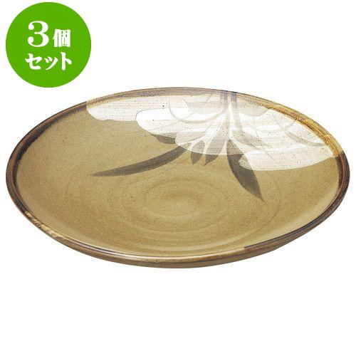 3個セット 和陶オープン 黄果鉄砂 丸10.0皿 [ 31 x 4.7cm ] 料亭 旅館 和食器 飲食店 業務用
