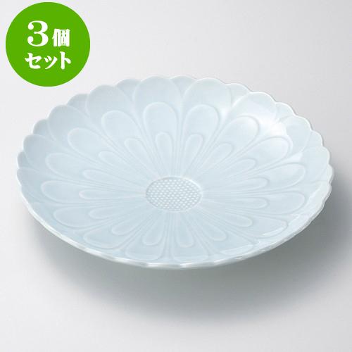 3個セット有田焼大皿 青白磁菊彫10号皿(有田焼) [ 30.5 x 5cm ] 料亭 旅館 和食器 飲食店 業務用