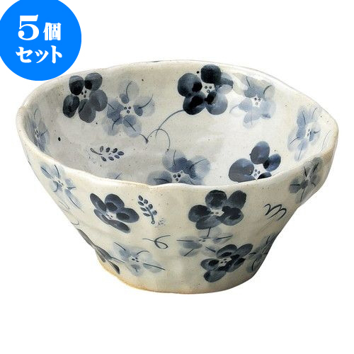 5個セット 和陶オープン 藍の花 盛鉢(小)青 [ 16 x 7cm ] 料亭 旅館 和食器 飲食店 業務用