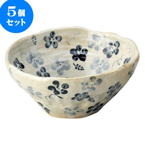 5個セット 和陶オープン 藍の花 盛鉢(中)青 [ 18.5 x 8cm ] 料亭 旅館 和食器 飲食店 業務用